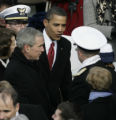 JOE0919 President Barack Obama and outgoing President George W. Bush leave Obama's Inaugration...