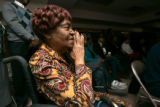 0189 Mary Owens joins her church family to watch the inauguration of Barack Obama at New Hope...