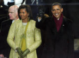 (0945) President Barack Obama, right, and First Lady Michelle Obama,left,  watch the Inauguration...
