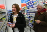MJM225  Emily Hartman (cq), 15, shops for supplies with her mother, Dale Parker (cq), right, in...
