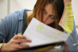 MJM724 Emily Hartman (cq), 15, studies material during a science class at Revere Jr. and Sr. High...