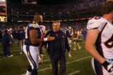 (0021) Mike Shanahan against the San Diego Chargers at Qualcomm Stadium in San Diego, Calif., on...