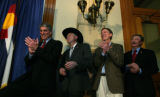 Big names for dems in Colorado Sen. elect Mark Udall, Sen. Ken Salazar, Mayor John Hickenlooper...