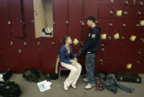 (1136) Jessica Brady, 14, talks with her boyfriend Connor Grogan, 16, during a break as the...