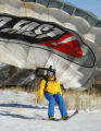 Max Kuszak is pumped up after jumping off a ski ramp at the top of 600-foot-cliffs in Echo Canyon...