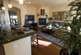 At Stapleton development a kitchen/ family room is in the Denver Brownstones at Central Park which...