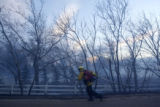 DM0792  LEG56403 A firefighter with Sunshine Canyon Fire Departmetn fights the fire along Nebo...