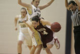 #24 Quincey Noonan (cq) of Legacy defends against #24 Brenna Malcom-Peck (cq) of Horizon during...