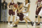 #22 Kailey Edwards (cq) of Legacy guards against of #1 Cherae Medina (cq) Horizon during the first...