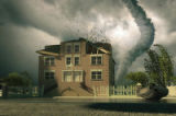 tornado over the house (3d rendering)