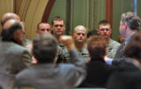 Members of the 2nd Battalion, 12th Infantry Regiment from Fort Carson are acknowledged during...