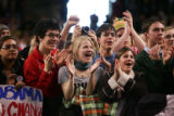 [1488] Supporters cheer as Barack Obama addressed a huge rally in Denver, Wednesday, January 30,...