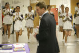 Denver Public Schools Superintendent Michael Bennet (cq) listens to the North High School...