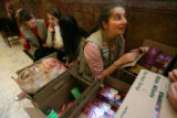 MJM045  Girl Scouts from troop 601 in Evergreen, Colo., Alyse Harrington (cq), 13, left to right,...