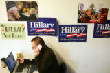 Stephen Beck (cq), of New York City, a volunteer for the Hillary Clinton Campaign works the phones...