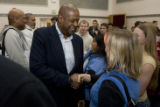 DM0428   Acclaimed actor Forest Whitaker shakes hands with students after attending a caucus...
