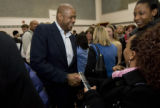 DM0434   Acclaimed actor Forest Whitaker shakes hands with students after attending a caucus...