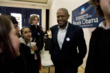 DM0504   Acclaimed actor Forest Whitaker talks with students after attending a caucus training...
