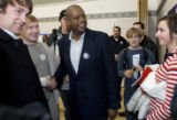 DM0528   Acclaimed actor Forest Whitaker shakes hands with students after attending a caucus...