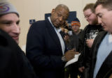 DM0548   Acclaimed actor Forest Whitaker signs autographs for students after attending a caucus...