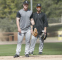 4887 Colorado Rockies' Jayson Nix, left, and Marcus Giles, right, compete for second base during...