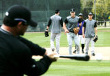 5612 Colorado Rockies' Jayson Nix leads the pac at second base as he fields grounders during...