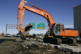 CDOT tears out pavement as they work to repair northbound I-25  Friday afternoon as Denver Water...