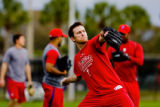 Brad Lidge, pitcher, throws during informal practice before the start of Spring Training at bright...