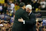 MJM486  Former Denver Mayor Wellington Webb hugs former President Bill Clinton as he speaks during...
