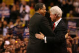 MJM489  Former Denver Mayor Wellington Webb hugs former President Bill Clinton as he speaks during...