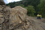 CDOT and other state officials inspect a rockslide on U.S. 6 in Clear Creek Canyon Wednesday, June...