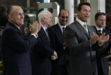 Gov. Arnold Schwarzenegger and Rudy Giuliani endorsed John McCain at Solar Integrated Technologies...