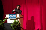Cornell West introduces U.S. Senator Barack Obama (D) at a fundraiser at the Apollo Theatre in...
