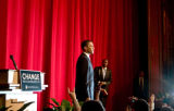 U.S. Senator Barack Obama (D) holds a fundraiser at the Apollo Theatre in Harlem, New York,...
