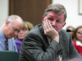 State Representative Douglas Bruce R- Colorado Springs reacts to a cold reception by members of...