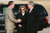 DM0228   President George W. Bush visits with Jeanne Assam, the volunteer security guard who...