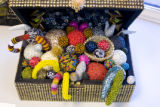 "A textile treasure chest titled, ""Touch Me Not,"" by artist Carol Burns sits near the..."