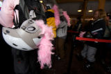 (Keystone, Colo., Feb. 9, 2008) The boa-adorned helmet of Kate Hare from Scottsdale, Ariz., as...