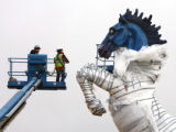 Mustang, a sculpture by well-known artist Luis Jimenez, has arrived at Denver International...