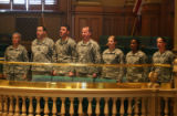 Active duty army soldiers from Ft. Carson sing during Military appreciation Day at the Statehouse...