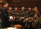Rep. Frank McNulty (cq), R- Highlands Ranch, speaks to members of the Young Marines during...