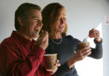 Co Owners, Scott Roy and Glennise Humphrey sample some of their product at Boulder Ice Cream...