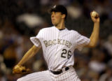 LHP Jeff Francis, got the start at pitcher for the Colorado Rockies at Coors Field in Denver,...