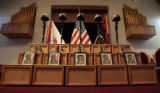 A memorial stands in the Soldier's Memorial Chapel, after a memorial service at Fort Carson,...