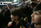 Jessica Alvarado (cq), 17, right, sees presidential candidate Barack Obama coming her way after he...
