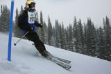 Donald Stevens (cq) from Pagosa Springs flies by the last few gates at the Slalom event taking...