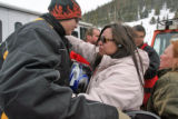 Cody Morris (cq),16,gets a hug from his Mom, Joy Morris (cq)  after Bill Hill (cq), his stepsons...