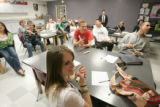 BG0059 Christine Smith, CQ, participates in the an advanced placement physics class as Frank...