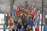Conference on World Affairs procession march towards Macky Auditorium on the CU campus Monday...