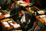 (PG0146) Rep. Douglas Bruce sits on the House floor at the State House on Monday, April 21, 2008....